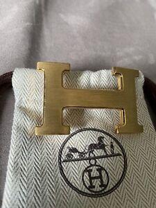 HERMES CONSTANCE H BELT BUCKLE 18k GOLD BRUSHED 32MM BELTS MENS WOMENS