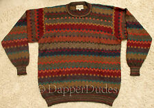 Mint! INTIWARA Colorful 100% Alpaca Wool Sweater-Men's L-Hand Made in Bolivia
