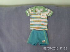 Baby Boys 6,9,12 Months - Blue/Green/White Polo Top & Shorts Outfit - Lonsdale