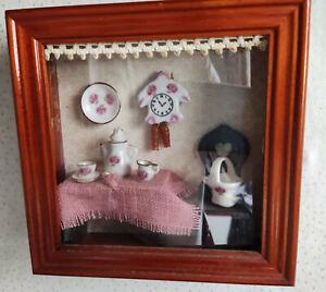 """Reutter Miniaturen Wandbild """"Küche rosa"""" Puppenstube 14,5 x 14,5 cm (#18)"""