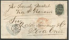 "1875 ENTIRE FROM MANCHESTER ""PER FRENCH PACKET VIA ST NAZAIR"" TO VERA CRUZ FR 1/"