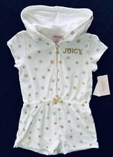 Juicy Couture Girls One-Piece S/S White Hooded Zip-Up Romper Shorts MSRP $70