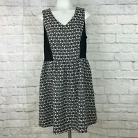 Kensie Medium Dress Fit & Flare Black White Sleeveless