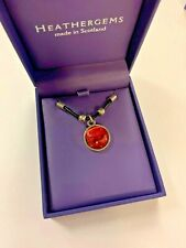 HEATHERGEMS ROUND ALL HEATHER THONG PENDANT WITH BEADS RED ADJUSTABLE