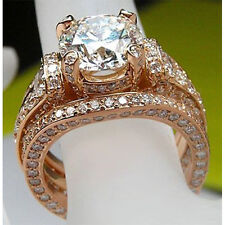 2.29 Ct Diamond Solitaire With Accents Engagement Bridal Ring Set 14K Rose Gold