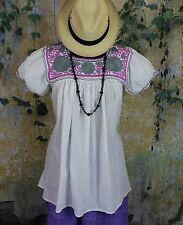 Pink Grey & White Hand Embroidery Blouse Maya Chiapas Mexico Cowgirl Hippie Boho