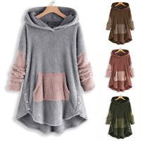 Women Winter Fleece Fur Embroidered Sweater Sweatshirt Hooded Hoodies Jumper Top