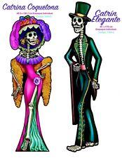 HUGE CATRINA AND HUGE EL CATRIN ! OVER 5 FT  DAY OF THE DEAD DIA DE LOS MUERTOS