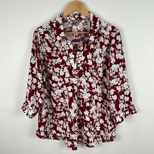 Suzannegrae Womens Blouse Top 12 Brown Floral Long Sleeve Collared