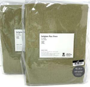 New~West Elm Belgian Flax Linen Curtains~Drapes~48x84~Camo Olive