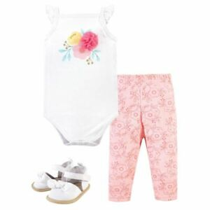 Little Treasure Cotton Bodysuit, Pant and Shoe Set, Flowers