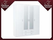 4 Door, 2 Drawer Wardrobe, with 2 Mirrors - Victoria SZ08 - New - White