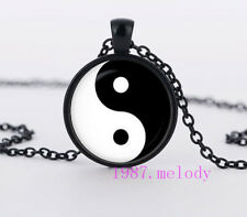 New yin yang Cabochon Glass Necklace charm fashion Black pendants #515