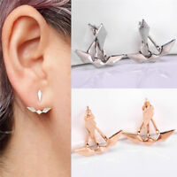 GEOMETRIC  RHODIUM GOLD or SILVER TASSLE ASYMMETRIC STUD  EARRINGS GIFT PARTY