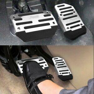 Universal Non-Slip Automatic Gas Brake Foot Pedal Pad Cover Car Accessory Silver