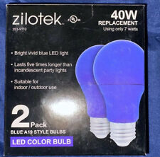 Zilotec Blue Light Bulb LED 7w Light Bulbs Standard Base Police Support 2 Pack