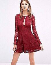 FREE-PEOPLE Teen Witch Fit Flare Plumeria Berry Lace Dress Sz. M  NWT $128