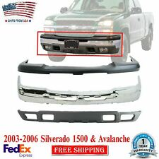 Front Bumper Chrome Steel Kit For 2003 2006 Chevrolet Silverado 1500 Avalanche