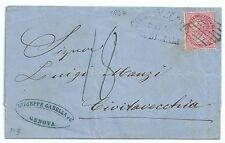 ITALIA 1864 LETTERA 40 c. DE LA RUE DA ANNULLO CIVITAVECCHIA VIA DI MARE