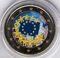 España 2 Euros 2015 3ª Emisión @ Aniv. Bandera E.U. @ 12ª Pieza @ ESMALTADA @