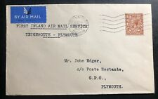 1934 Teigmmouth England First Inland Flight Airmail Cover Ffc to Plymouth