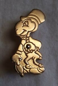 Vintage antique 1940's Disney Pinocchio Jiminy cricket pin back brooch