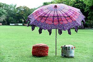 """Indian Peacock Mandala Outdoor Garden Umbrella Patio Cotton Parasol Sun Shde 80"""""""
