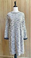 Lou & Grey M Dress Long Sleeve Knit Slub Black White Casual Women's Medium