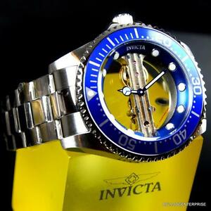 Invicta Pro Diver Ghost Bridge Mechanical Skeleton Steel Blue 47mm Watch New