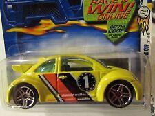 Hot Wheels Volkswagen New Beetle Cup #045 Yellow Race & Win Online Card