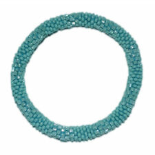 Textured Turquoise Crocheted Beaded Bracelelet, TB10, Nepal, Glass beads