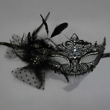 Luxury Metal Venetian Masquerade Mask with Feathers for Women M7110 [Black]
