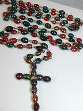 "Cross Pendant Extra Long 60"" Red Green Black Glass Wired Bead Strand Necklace"