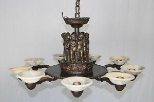 Kronleuchter Antik Bacchus Bronze 9 Flammig *Festival Of Bacchius *Chandelier