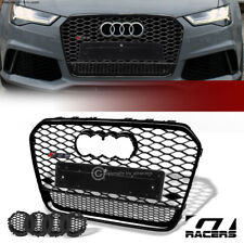 For 2012-2015 Audi A6 C7 Black Rs Honeycomb Mesh Front Bumper Grille+Emblem Base