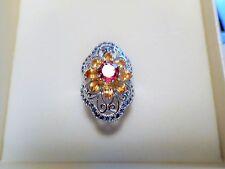 Saphir, Citrin und Pink Turmalin Ring 925 Sterlingsilber 585 Weißgold vergoldet