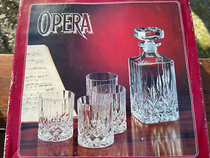 Vintage RCR Set Whiskey Decanter and 3 Tumblers Over 24% Lead Crystal OPERA