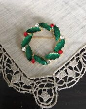 "Vintage A S Rhinestone Enamel Wreath 1-3/4"" Christmas Brooch Pin Jewelry Vc-53"