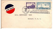 1934 Dominican Republic Santiago Airmail Cover to Chicago - Nice Hand Cancel