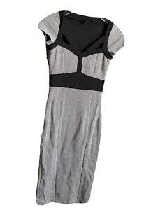 ASOS Houndstooth Midi Dress Sheath Bodycon Cut Out Stretch Xs 4 knit wiggle