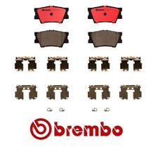 For Toyota RAV4 Lexus ES350 Rear Brake Pad Set Ceramic Slotted Clips Brembo