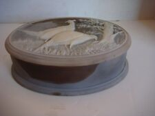 LARGE Vintage INCOLAY Stone oval Trinket Box birds tree special color