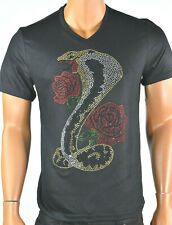 INC International Concepts Mens T-Shirt New M Black Beads Glitter Roses Party