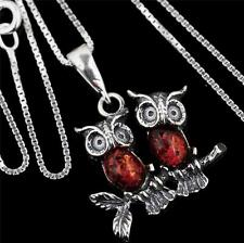 """STERLING SILVER BALTIC AMBER OWL PENDANT NECKLACE 18"""""""
