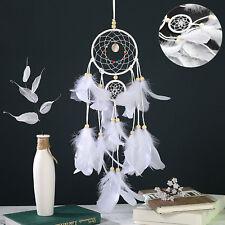White Nylon Dream Catcher Beads Silver Thread 2 Hoop Native American Decorations