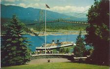 Postcard Vancouver British Columbia Lion's Gate Bridge Cpr Steamer ca 1950s-60s