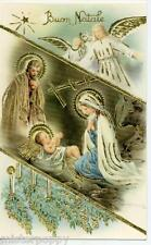 Baby Jesus w Angels Fantastic Xmas Glossy Emboss Gold Vintage PC 1930