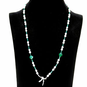 """NATURAL GRAY PEARL, AGATE & EMERALD FACE MASK CHAIN NECKLACE HOLDER 28"""""""