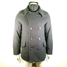 Levi's Men's Size Small Black Wool Blend Pea Coat Winter Jacket Quilted Liner