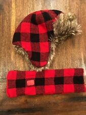 Baby Gap Winter Hat Trapper Ear Flap Fudd Red Plaid Toddler Xs/s 2t 3t Faux Fur